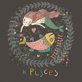 stock photo of pisces  - Cute zodiac sign  - JPG