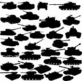 stock photo of abram  - Collection of 30 tanks silhouettes isolated on white - JPG
