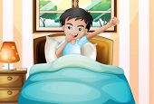 pic of early-man  - Illustration of a boy waking up early - JPG