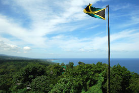 picture of jamaican flag  - The view of Jamaican landscape from the top of Mystic Mountain - JPG