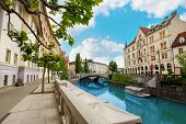 image of yugoslavia  - Ljubljana river embankment in downtown on central street - JPG