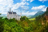 picture of bavaria  - Neuschwanstein castle panorama fortress in Bavaria Germany - JPG