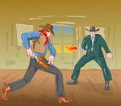 picture of gunfighter  - illustration of a Cowboy engaged in a gunfight - JPG