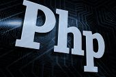 The word php against futuristic black and blue background