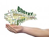 Concept or conceptual abstract green ecology and energy word cloud text in man hand on white backgro