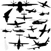 picture of ultralight  - assorted plane helicopter and microlight silhouettes illustration - JPG