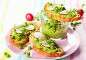 stock photo of radish  - Crostini with pea puree - JPG