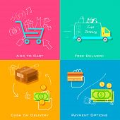 stock photo of free-trade  - illustration of e commerce online shopping concept in flat style - JPG