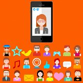 illustration of social media concept in mobile phone