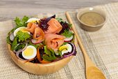 stock photo of radish  - Smoked salmon salad with red onion - JPG