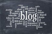 pic of slating  - cloud of words or tags related to blogging and blog design on a  vintage slate blackboard - JPG