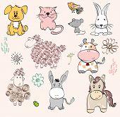 picture of burro  - set of farm animals - JPG