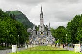 pic of grotto  - Center of pilgrimage to famous cathedral in Lourdes - JPG