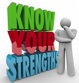 Know Your Strengths words beside a thinking person wondering what his unique or special skills or ab