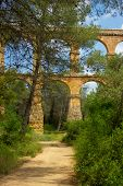 foto of aqueduct  - Beautiful view of roman Aqueduct Pont del Diable in Tarragona
