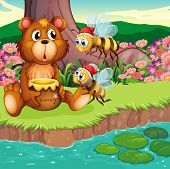 Illustration of a big bear and bees at the riverbank
