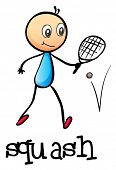 Illustration of a stickman playing tennis on a white background