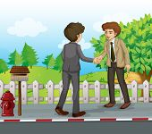 Illustration of the two businessmen handshaking at the street