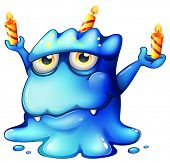 Illustration of a blue monster celebrating a birthday on a white background