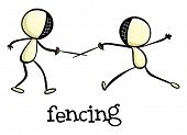Illustration of a fencing activity on a white background