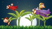 stock photo of float-plane  - Illustration of the three playful monkeys playing with the plane under the fullmoon - JPG