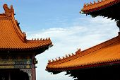 stock photo of gable-roof  - photo of  gable roof in chinese style - JPG