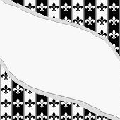 foto of fleur de lis  - Black and White Fleur De Lis Pattern Torn Textured Fabric Background with center copy - JPG