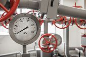 image of manometer  - Valves and manometers on Industrial pipeline system - JPG