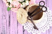 Key to success and happiness. Composition with keys in wicker basket and flowers. Conceptual photo.
