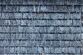 foto of shingles  - Cedar Shingles with Snow during a cold Winter Day - JPG