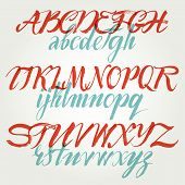 pic of hand alphabet  - The alphabet in calligraphy brush - JPG