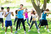 picture of boxing day  - Group of multiethnic friends exercising in park - JPG