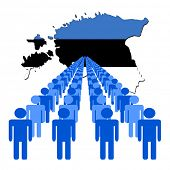 Lines of people with Estonia map flag vector illustration