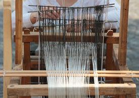 stock photo of handloom  - Front view of an old handloom weaving machine - JPG