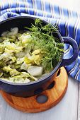 picture of stew pot  - pot of deliicious stew cabbage  - JPG
