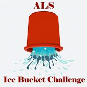 picture of bucket  - Flat vector illustration of ice cold water spilling from red bucket - JPG