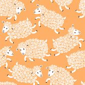 picture of baby sheep  - Seamless pattern with cute sheep - JPG