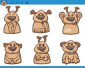 stock photo of bad mood  - Cartoon Illustration of Funny Dogs Expressing Emotions Set - JPG