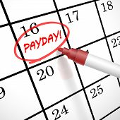 stock photo of payday  - payday word circle marked on a calendar by a red pen - JPG