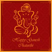 pic of ganpati  - vector illustration of Lord Ganesha on floral backdrop - JPG