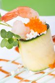 stock photo of masago  - Zucchini Roll with shrimps and seasoned capelin roe  - JPG