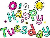 foto of special occasion  - Hand drawn and colored whimsical cartoon special occasion text that reads HAPPY TUESDAY - JPG