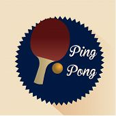foto of ping pong  - a ping pong label with a racket and some text - JPG