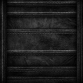 pic of stitches  - black leather with stitch background  - JPG