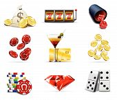 stock photo of slot-machine  - Illustration set of Casino and gambling icons - JPG