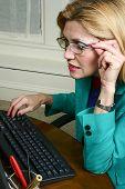 Beautiful Business Woman Wearing Glasses poster