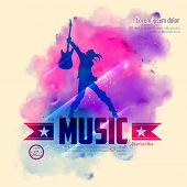 pic of rock star  - illustration of rock star with guitar for musical background - JPG