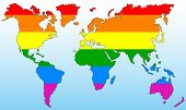picture of gay pride  - World map dyed with the colors of the gay pride flag - JPG