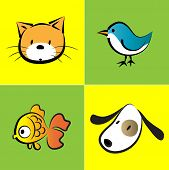 pic of bird-dog  - vector pet icon set about cat - JPG