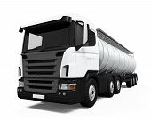 image of fuel tanker  - Fuel Tanker Truck isolated on white background - JPG